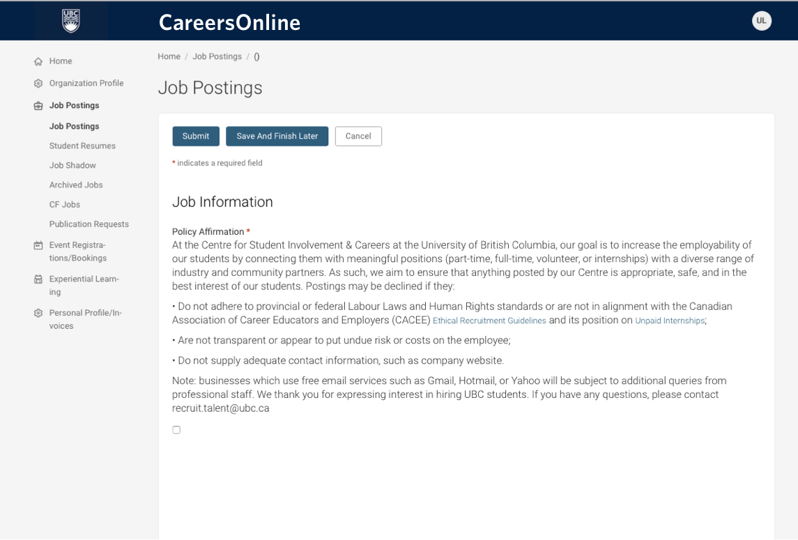 UBC CareersOnline Screen